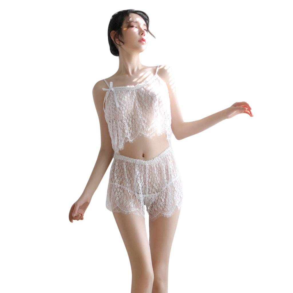 Women's Sexy Temptation Lace Trim Bralette Silky Lace Pajamas Shorts Pajama Set Lingerie Nightwear (White)