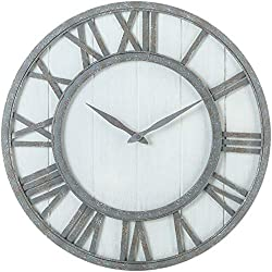 Oldtown Farmhouse Metal & Solid Wood Noiseless Wall Clock (Whitewash, 18-inch)