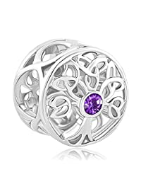Charmed Craft 925 Sterling Silver Family Tree of Life Jan-Dec Birthstone Celtic Knot Crystal Charm Bead For Bracelets