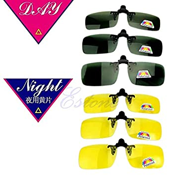 Transport-Accessories Polarized Day Night Vision Clip-on Flip-up Lens Sunglasses Driving Glasses