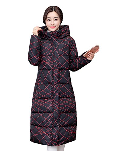 Donna Warm Plus Bigood Size Down Hooded Allunga Black Long C Coat wdqPqpg
