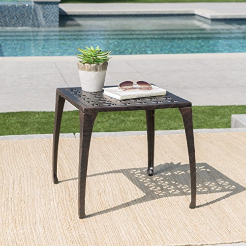 Kata Outdoor 18 Bronze Finished Cast Aluminum Side Table