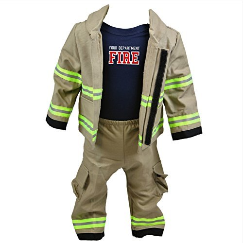 Fully Involved Stitching Personalized Firefighter Baby 3pc Tan Outfit (18 Months)]()