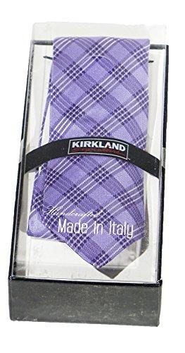 Designer Handcrafted Italian Silk Dress Tie - Kirkland Signature (Lavender Stripe)