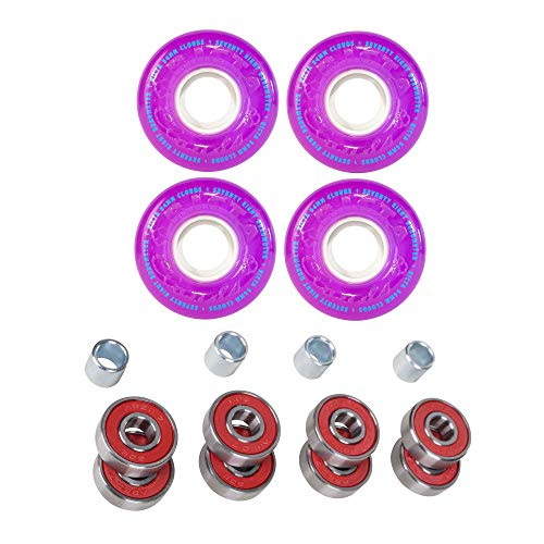 Ricta Skateboard Wheels 54mm Crystal Clouds Purple 78a   Cal 7 Premium ABEC-7 Pre-Lubricated Bearings- Red
