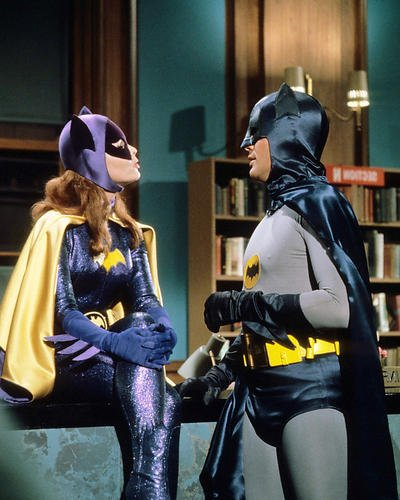 Batman classic TV series Adam West facing Yvonne Craig as Batgirl 16x20 Poster -