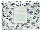 Hillcrest All Stars Sports Boys Blue 3-Piece TWIN Sheet Set 100% Cotton Sketched Sport Football Baseball Soccer Basketball Hockey
