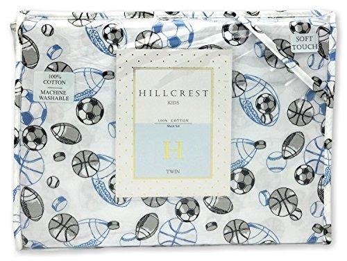 Hillcrest All Stars Sports Boys Blue 3-Piece TWIN Sheet Set 100% Cotton Sketched Sport Football Baseball Soccer Basketball Hockey