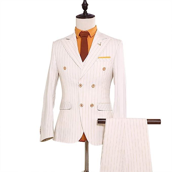 Amazon.com: Para hombre 3 piezas Doble Breasted Blanco con ...