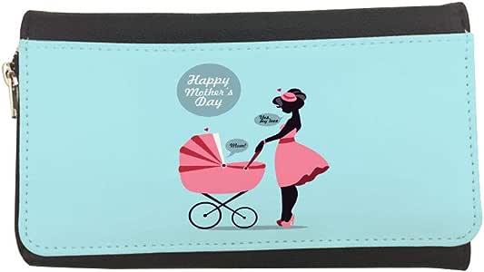 محفظة جلدية مطبوع عليها Happy Mother's Day