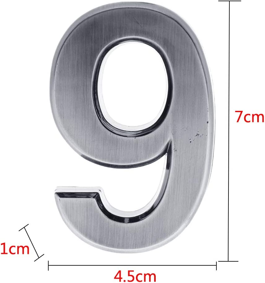 Number 2 Self Stick House Numbers Door Address Sign Plaque Stickers for Apartment Hotel Condo Mailbox Silver
