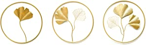MKUN Set of 3 Iron Wall Sculptures - Metal Round Wall Décor with Gingko Leaf Art Great for Home Hotel Bar Decoration (Gold_B)