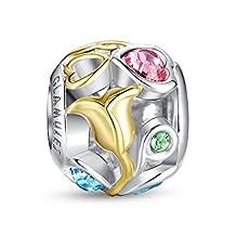 Glamulet 925 Sterling Silver and Gold Rose Openwork Swarovski Charm Fits Pandora Bracelet