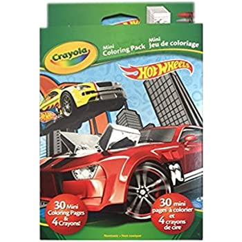 Hot Wheels Crayola Mini Coloring Pack Party Favor 30 Pages 4 Crayons
