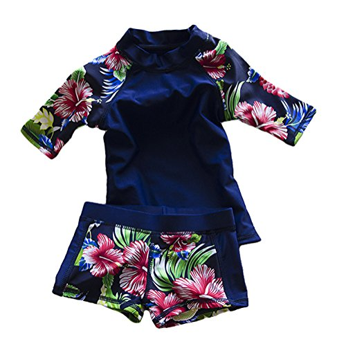 Baby Toddler Boy Girl Two Piece Swimsuit Swimwear Bathing Suit UPF 51+ Blue M