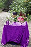 ShinyBeauty Purple Sequin Tablecloth-48x48-lnch-Premium Quality Square Glitz Sequin Table Linen Sequin Table Overlay for Wedding Party Decoration (Purple)