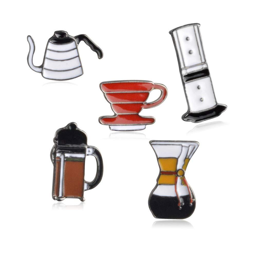 Kofun Brooch Pins, 5 Pieces Cartoon Enamel Coffee Brooch Pins Set Unisex Clothing Decor Jewelry