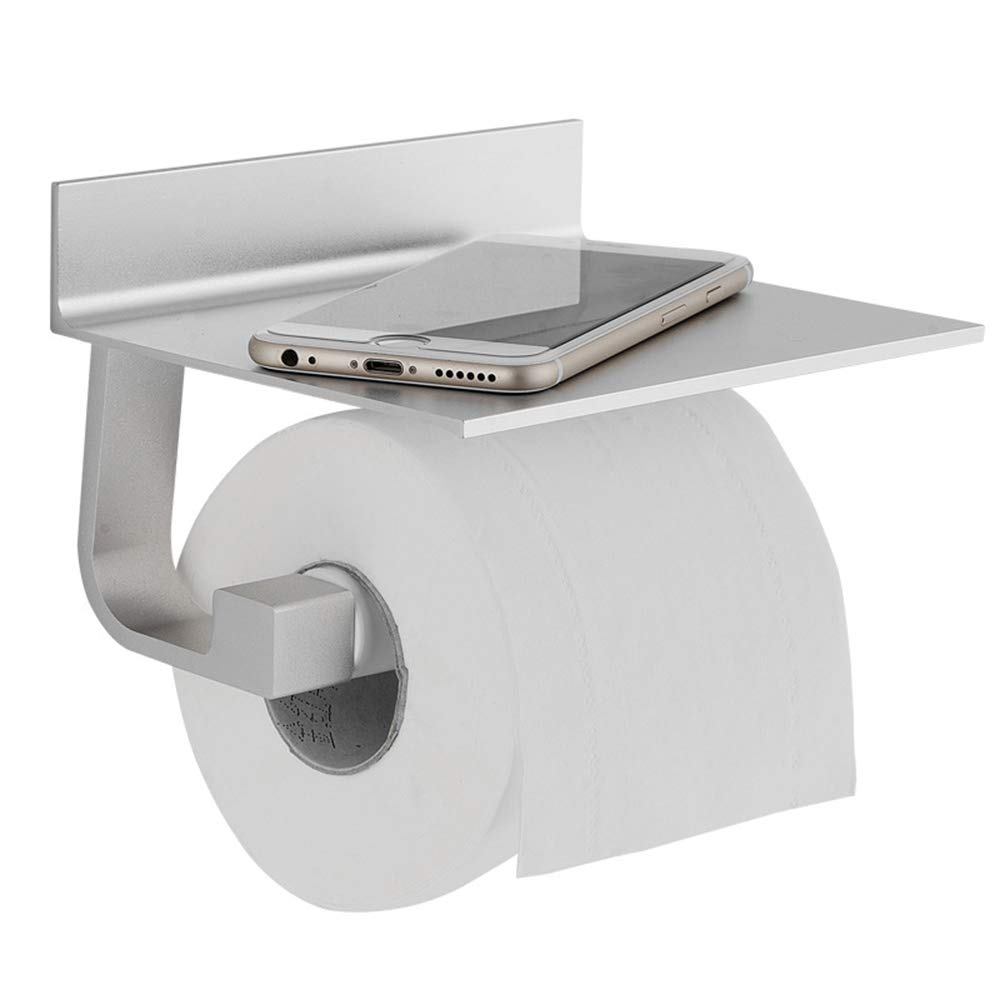 Judeen Self Adhesive Toilet Paper Holder, Anti-Rust Space Aluminum Toilet Roll Holder Large Space Shelf All Mobile Phone, Sticky 3M Adhesive Glue on Tissue Holder Bathroom Toilet