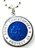 Saint Christopher Surf Medal Pendant Necklace,Royal Blue/White RB/WH Medium