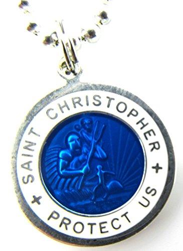 Saint Christopher Surf Medal Pendant Necklace,Royal Blue/White RB/WH Medium - St Christopher Surfer Medal
