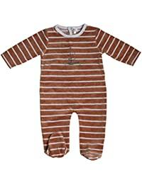 Striped Velour Footie With Ship