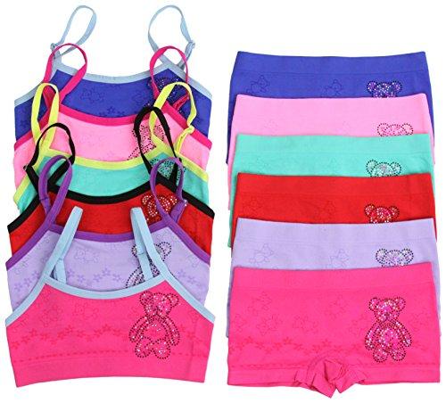 ToBeInStyle Girl's 6 Pack Set Spaghetti Strap Bras Boyshorts - Teddy Bear - L (Care Bear Panties)