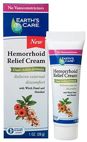 Earth's Care Hemorrhoid Relief Cream, No Vasoconstrictors, Parabens, Petrolatum, Artificial Colors, or Fragrance 1 OZ. ()