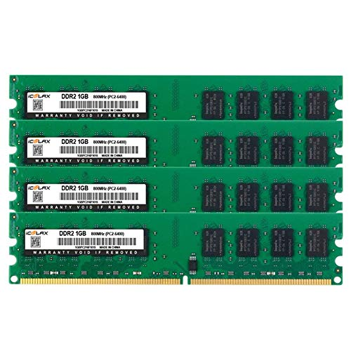 ICOOLAX 4GB Kit(1GBx4) DDR2 RAM 240-Pin Long-DIMM PC2-6400 Unbuffered Non-EEC Dual Channel CL5 1.8v Desktop Memory RAM Module