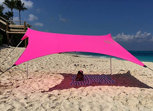 Neso Tents Beach Tent with Sand Anchor, Portable Canopy Sunshade - 7' x 7' - Patented Reinforced Corners (Hot Pink) by Neso
