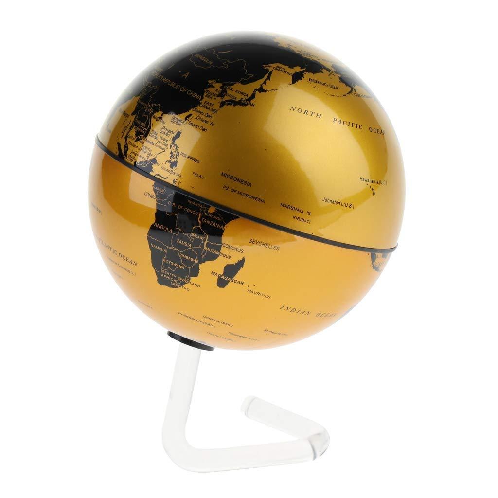 Desktop Globus HJCA World Earth Instrument-Science Kreative Magnetaufhängung Rotation Stereoskopische Anzeige Karte Ozean Geographie Bildung Geschenk Dekoration Dekoration-Gold Lernutensilien, büro de