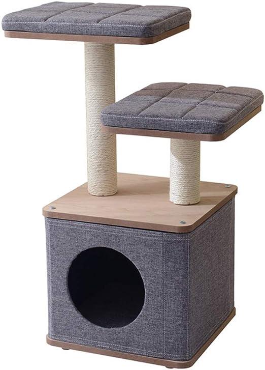 Árbol para Gato Rascador para Gatos 38 * 38 * 80 Cm Colchón Lavable Desmontable De Columna De Agarre De Sisal Natural Arbol para Arañar Poste Centro De Actividades Gato: Amazon.es: Hogar