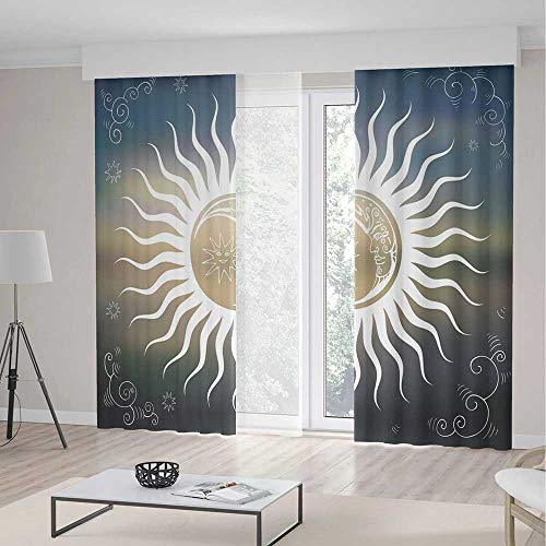 iPrint Sun Decor Curtains,Celestial Bodies Silhouette Geometric Elements Swirled Lines Curves Ornamental Decorative,Window Drapes 2 Panel Set, Living Room Bedroom,157 W 84 L,Multicolor (Celestial Beaded Curtain)