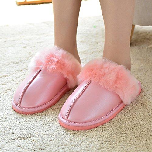 Mhgao da donna casual autunno inverno peluche cotone pantofole calde pantofole in similpelle, rosa, 38