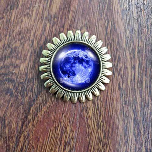 Handmade Fashion Jewelry Cute Gift Earth Natural Blue Full Moon Brooch Badge Pin ()