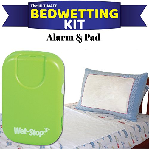 (Wet-Stop3 Kit: Bedwetting Enuresis Alarm with Waterproof Bed Pad for Boys and Girls, Curing Bedwetting For Over 35 Years (Green))