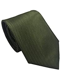 Mens Necktie with Stripe Textured 8 cm / 3 inches- Various Colors (Army Green)