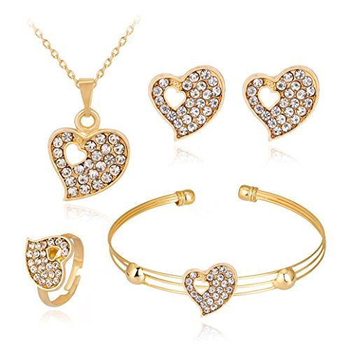 BSGSH Women Flower/Heart/Crown Shape Personality Necklace Bracelet Ring Earrings Jewelry Set For Wedding, Prom, Party (Gold | D) Heart Charm Necklace Earrings
