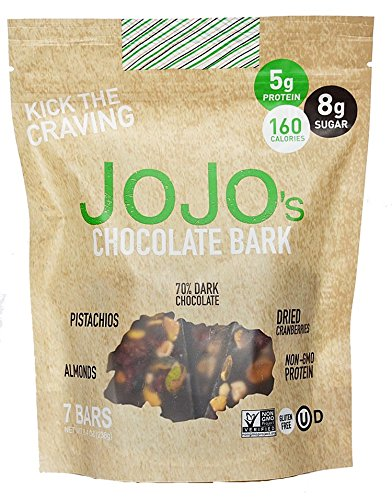 JOJO's, Guilt Free 70% Dark Chocolate Bark, NON-GMO Protein Raw Almonds and Pistachios and Dried Cranberries, 8.4oz Bag With 7-1.2oz Bars, One Week (Healthy Chocolate)