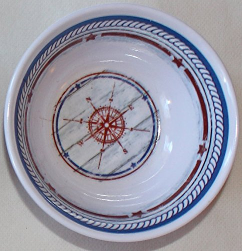 Nantucket Home Melamine Ware Navy Compass Melted Butter Dip Bowls for Lobster, Set of ()
