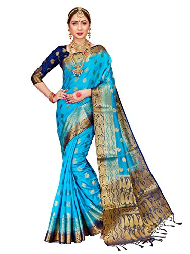 ELINA FASHION Sarees for Women Banarasi Art Silk Woven Work Saree l Indian Wedding Traditional Wear Sari & Blouse Piece (Blue Silk Sari Saree)