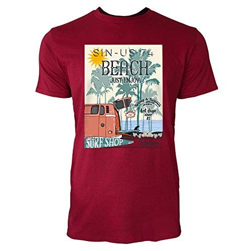 SINUS ART ® Beach – Just Enjoy Herren T-Shirts in Independence Rot Fun Shirt mit tollen Aufdruck