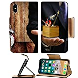 Liili Premium Apple iPhone X Flip Pu Leather Wallet Case Music college offer chance concept Music instrument box in the teacher hand Photo 18152116 Simple Snap Carrying