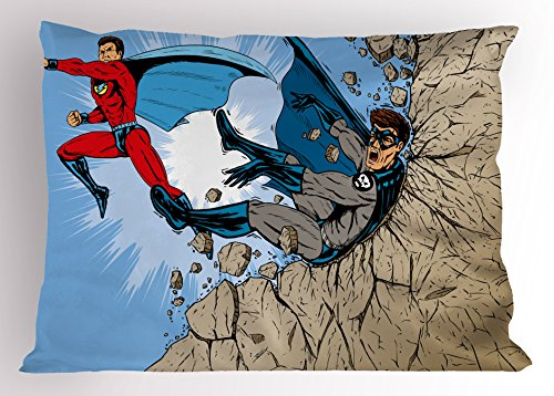 Ambesonne Superhero Pillow Sham, Old School Comic Book Hero and Villain on The Rocks Punching Kicking Cartoon, Decorative Standard Queen Size Printed Pillowcase, 30 X 20 inches, Multicolor