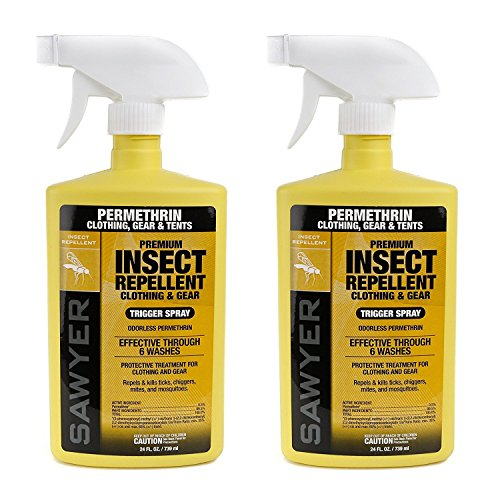 Sawyer Products SP6572 Twin Pack Premium Permethrin Clothing Insect Repellent Trigger Spray, 24 oz
