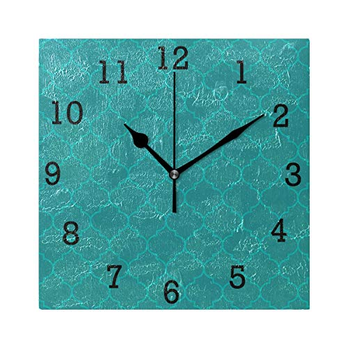 Anmarco Moroccan Aqua Olive Color Square Wall Clock, Non Ticking Digital Quiet Sweep Decorative Clocks for Kitchen Bedroom Living Room ()