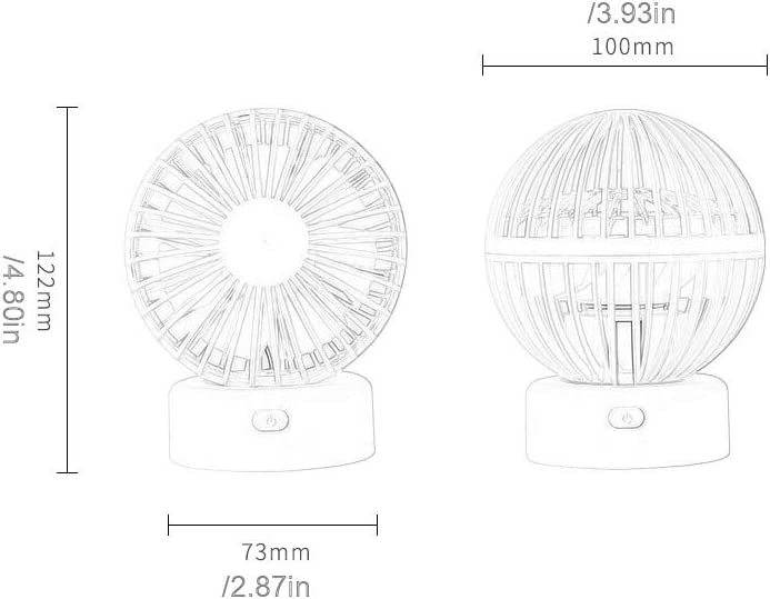 F805 Mini Fan Creative Hot Air Balloon Models 90/° Up and Down Rotating USB Mini Silent Fan Summer Portable Small Fan