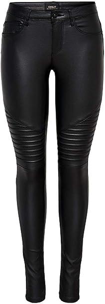 TALLA L / L30 (tamaño del fabricante: L). Only Onlnew Royal Reg SK. Biker Coated Noos Pantalones para Mujer