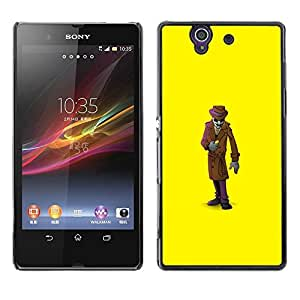 Be Good Phone Accessory // Dura Cáscara cubierta Protectora Caso Carcasa Funda de Protección para Sony Xperia Z L36H C6602 C6603 C6606 C6616 // Mystery Man Suit Cartoon