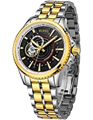BUREI Mens Elegant Automatic Watch Anolog Display Synthetic Sapphire Glass and Two Tones Stainless Steel Bracelet