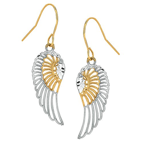 Earrings Gold Angel (10k 2 Tone Yellow And White Gold Diamond Cut Angel Wings Drop Earrings)